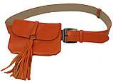 Сумка на пояс+ремень кожаные Monochrome 74688 оранжевый, фото 2