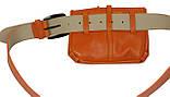 Сумка на пояс+ремень кожаные Monochrome 74688 оранжевый, фото 4
