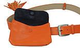 Сумка на пояс+ремень кожаные Monochrome 74688 оранжевый, фото 6