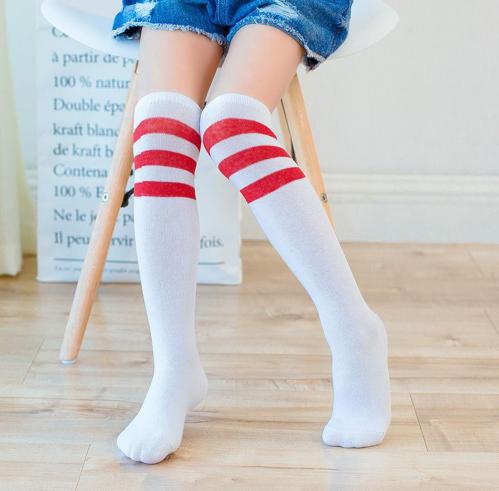 Гольфы - чулки для девочки белые с красными полосками