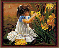 Картина по номерам на холсте Идейка Девочка с цветами (Общение с природой) KH030 40 х 50 см