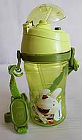 Детская бутылочка непроливайка для воды с ремешком. Зеленая