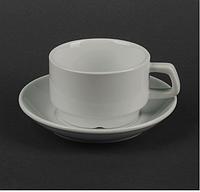 Чайная пара из белого фарфора (чашка 250мл+блюдце) HR1300