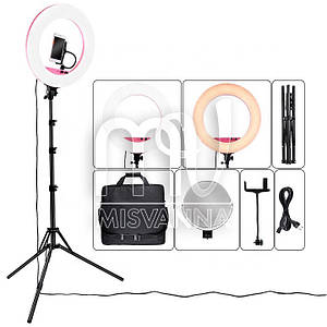 Профессиональная кольцевая лампа MakeUp LF-R480C с штатив-треногой для косметологии