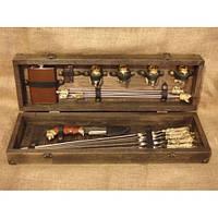 """Премиум-набор в подарок мужчине """"Успешная охота"""" ( шампура, мангал, нож, чарки, фляга) в кейсе из дерева"""