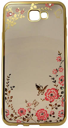 Силиконовый чехол для Samsung J7 Prime Gold bamper Flowers, фото 2