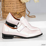 Шикарные кожаные женские туфли розовый перламутр, фото 5