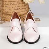 Шикарные кожаные женские туфли розовый перламутр, фото 3