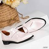 Шикарные кожаные женские туфли розовый перламутр, фото 2