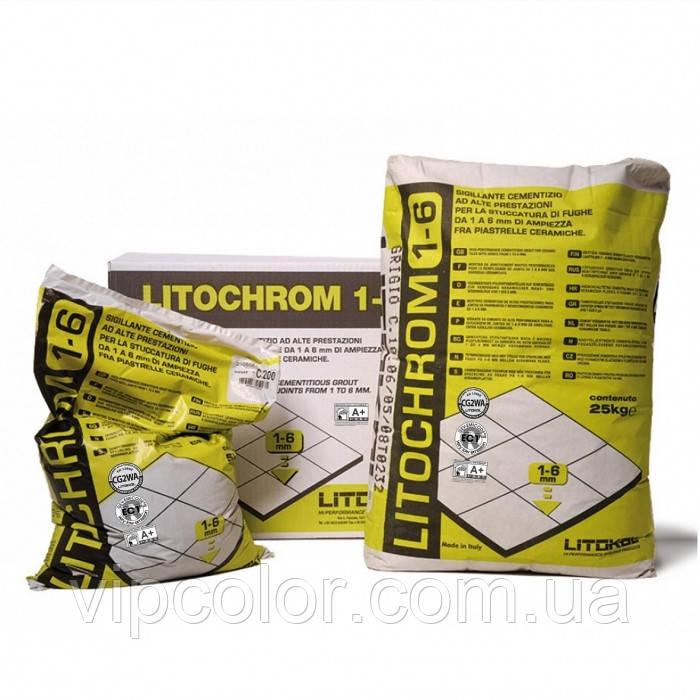 Litokol Litochrom 1-6 затирочная цементная смесь для заполнения швов С30 Серый перламутр 5 кг
