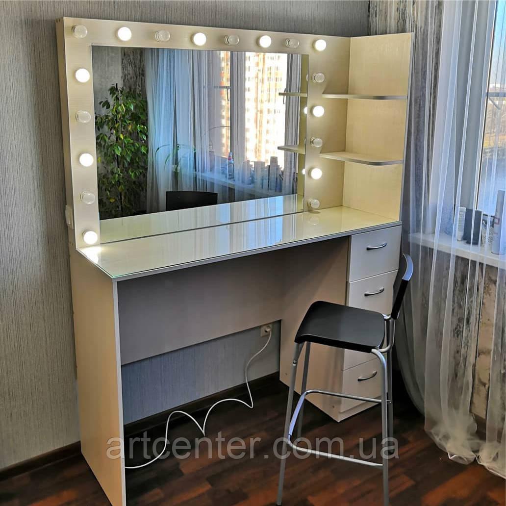 Комфортное рабочее место парикмахера/визажиста с полочками у зеркала и тумбой