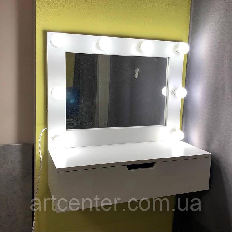 Навесной туалетный столик с ящиком и гримерным зеркалом