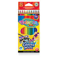 Карандаши цветные Colorino акварельные с кисточкой 12 цветов водорастворимые