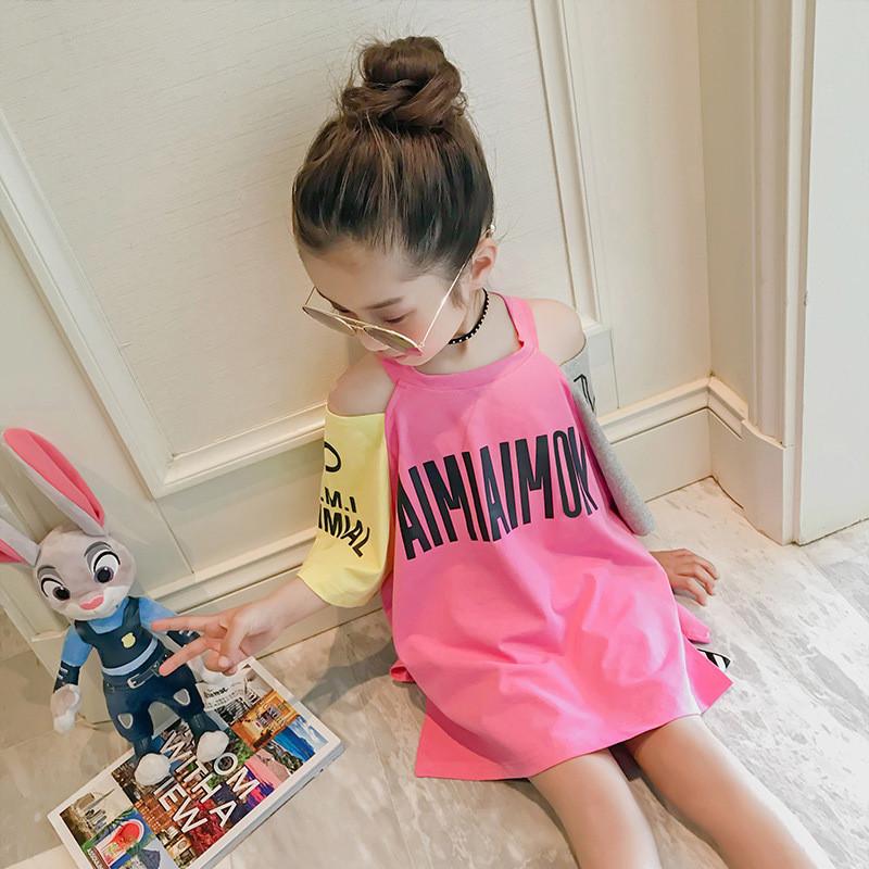 Детское платье -туника  с открытыми плечами