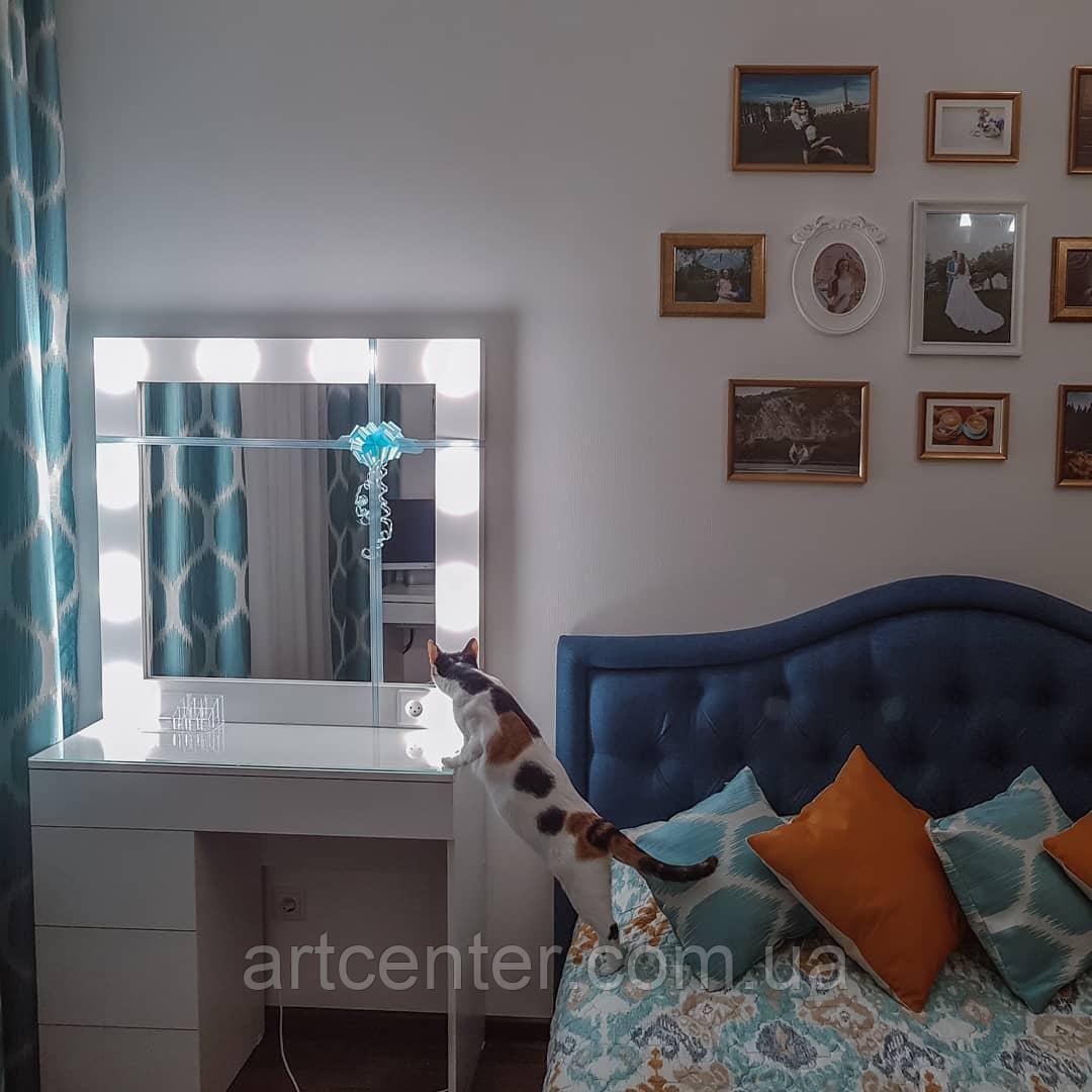 Стол визажиста с подсветкой, туалетный столик с гримерным зеркалом
