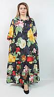 Турецкое длинное платье-рубашка с цветочным принтом, размеры 52-62