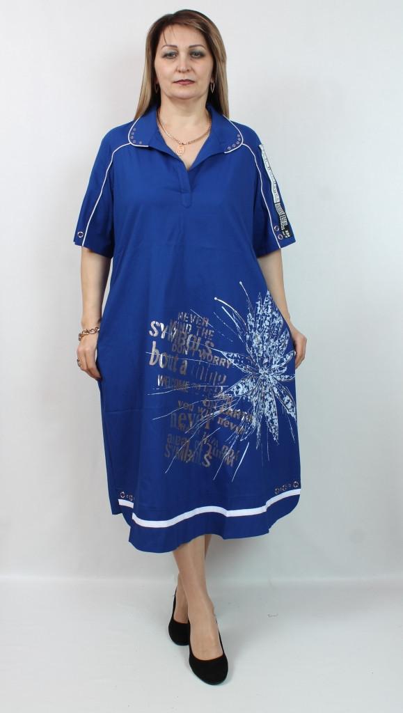 Турецкое летнее женское платье миди, размеры 52-64