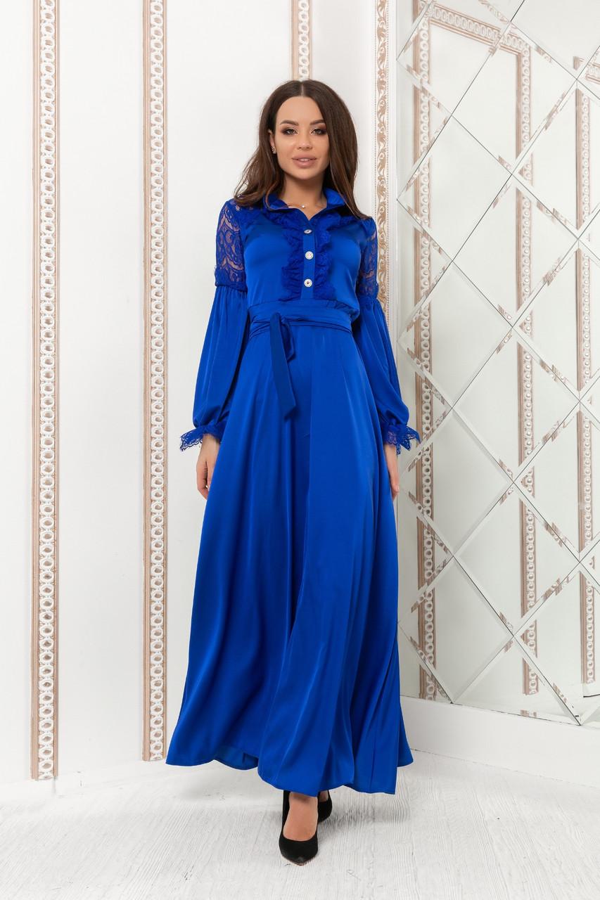 Шелковое вечернее платье в пол с длинными рукавами и гипюровыми вставками (р.44-52)