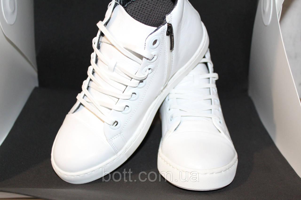 Белые кожаные кеды конверсы