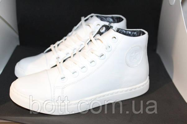 Белые кожаные кеды конверсы, фото 2