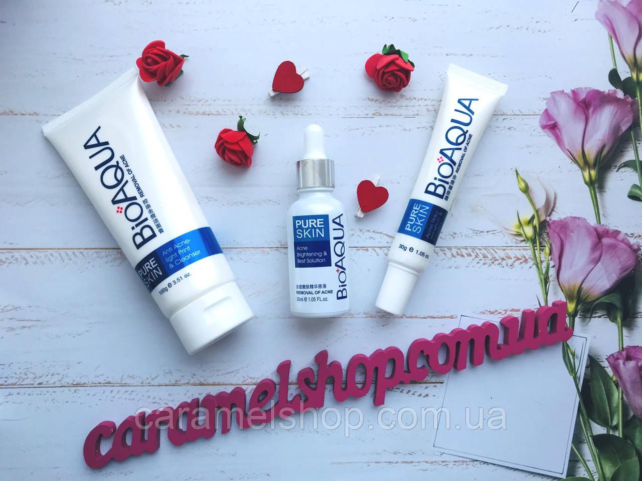 Набор анти-акне для проблемной кожи BIOAQUA Pure Skin Anti Acne 3 в 1 пенка, сыворотка, крем