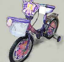"""Двухколесный велосипед Mustang Принцесса 12"""" фиолетовый + корзинка"""