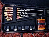 """Подарочный набор шампуров с ножом, флягой и чарками """"Охотничий XXL"""""""