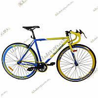 Велосипед Profi  28 FIX26C700-UKR1H Fixed Gear Bike, Фикс и Сингл спид (Желто-синий), фото 1