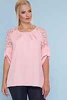 Блуза жіноча з софту та гипюру, фото 1