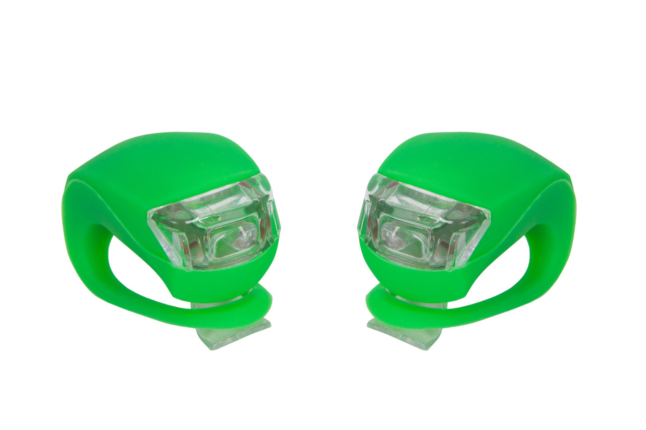 Мигалки, комплект 2 шт BC-RL8001 белый+красный свет LED силиконовые, зеленые