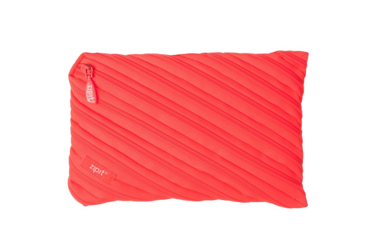 Пенал ZIPIT NEON JUMBO, цвет GLOWING PEACH (персиковый)