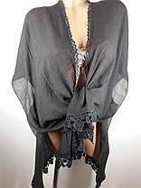 Пляжная накидка Прошва черно-серая 1903 на наши 44-54 размеры., фото 2