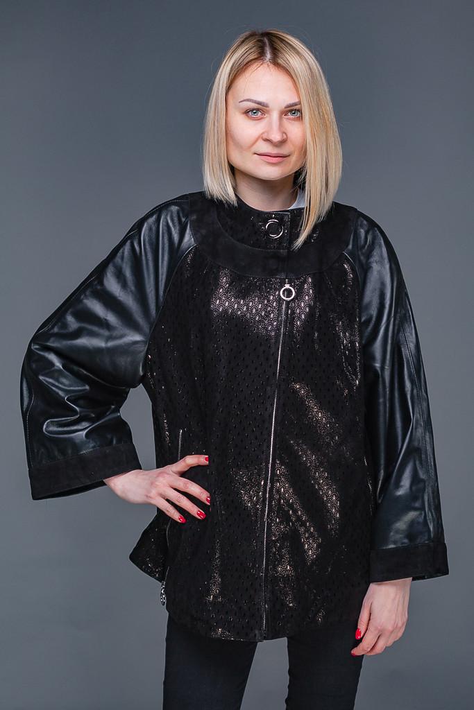 43c448cf9be Женская кожаная куртка с накатом L-7XL -
