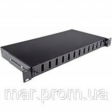 Патч-панель 24 порта 12SCDuplex, пустая, кабельные вводы для 2xPG13.5 и 2xPG16, 1U, черная