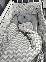 Набор для новорожденного ( кокон, одеяло, бортики, простынь на резинке)подушка облако в подарок