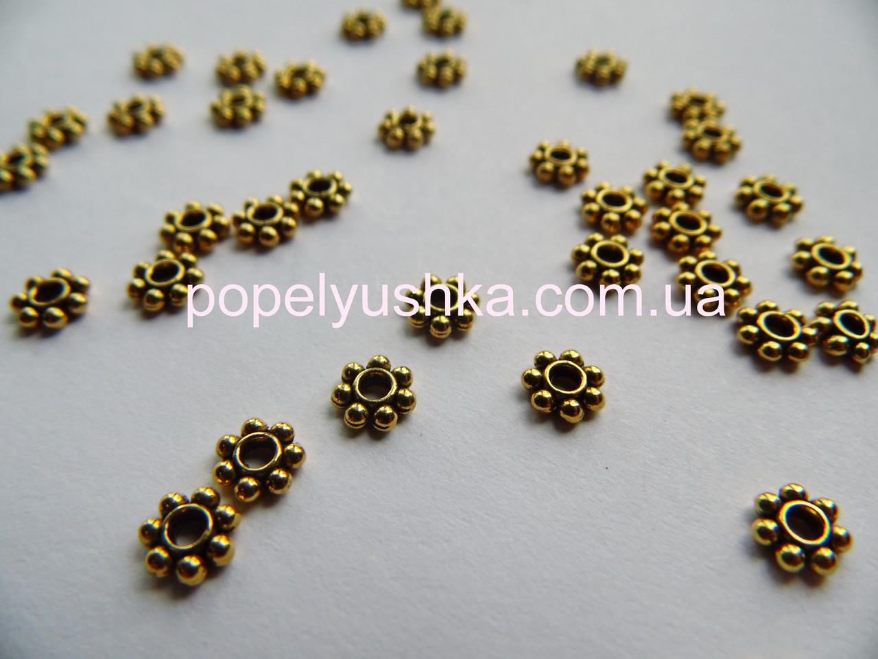 Бусины металлические 6 мм Золото (10 шт)