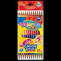 Набір двосторонніх кольорових олівців 33046PTR Colorino 24 кольори 12 олівців трикутна форма