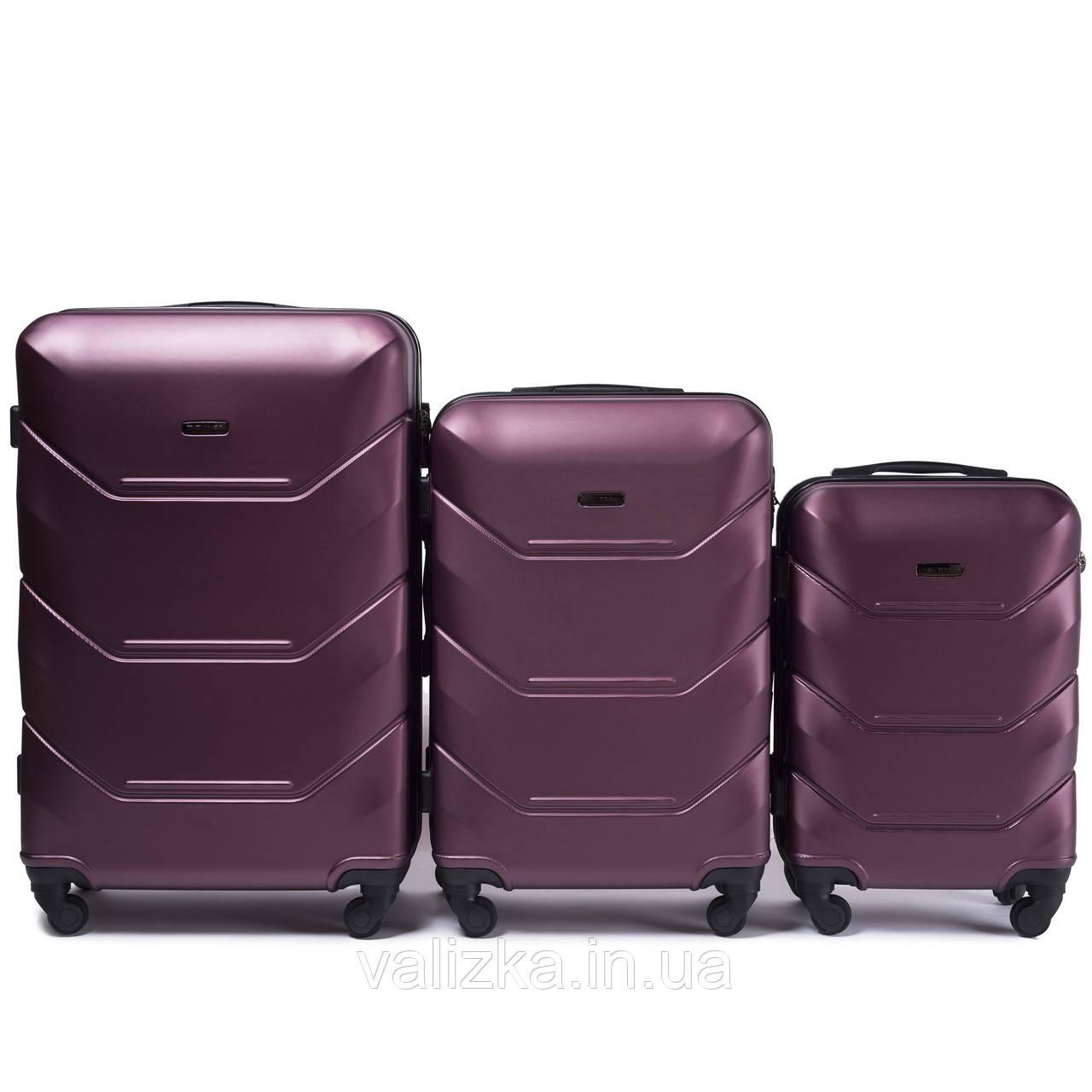 Комплект чемоданов из поликарбоната 3 штуки малый, средний, большой Wings бордо