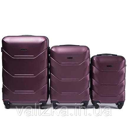 Комплект чемоданов из поликарбоната 3 штуки малый, средний, большой Wings бордо, фото 2