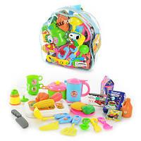 Детский набор посуды 9953  с продуктами, в рюкзаке