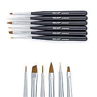 Набор кистей для моделирования и дизайна ногтей MILEO, Черный, 6шт/уп