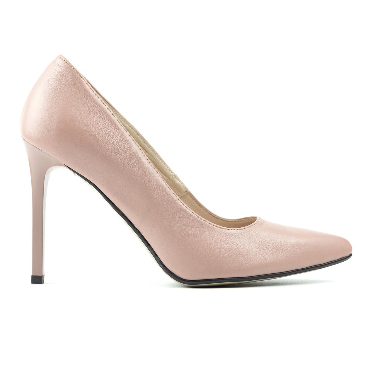 Туфли на каблуке пудровый (О-830)