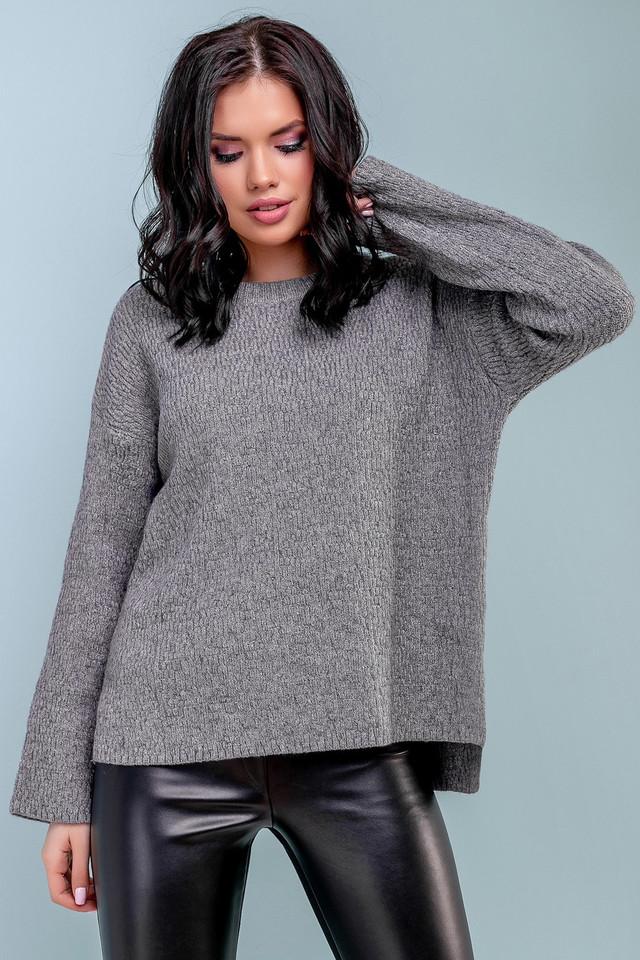 Женский свободный свитер, размер 42-48, серый, широкий, повседневный, молодёжный