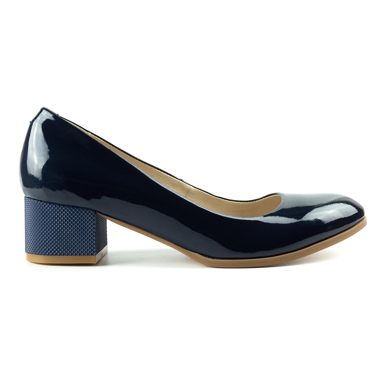 Туфли на широком каблуке синий (О-783)