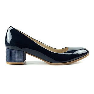 Синие лакированные туфли женские 41 размер Woman's heel на низком каблуке