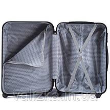 Комплект чемоданов из поликарбоната 3 штуки малый, средний, большой Wings ракушка синий, фото 2
