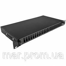 Патч-панель 48 портов 24 SCDuplex, пустая, кабельные вводы для 2xPG13.5 и 2xPG16, 1U, черная.