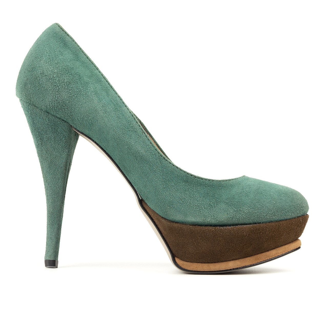 Туфли на каблуке бирюзовый (О-520)