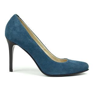 Туфли женские на высокой шпильке 39 размер Woman's heel синие из натуральной замши