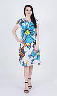 Легка літня біла батистова сукня міді з яскравим квітковим принтом №161-2
